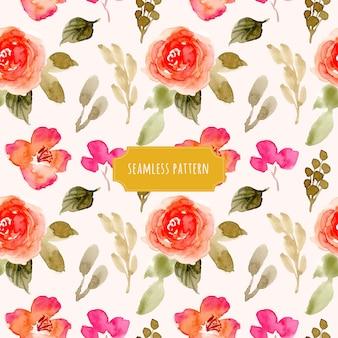 かわいい花の水彩シームレスパターン