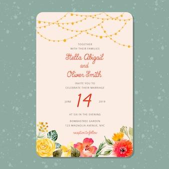 文字列の光と花の背景と結婚式の招待状