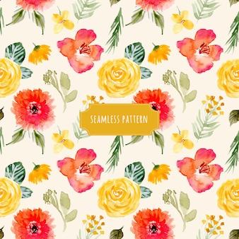 黄色の赤い花の水彩シームレスパターン