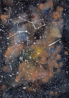 ブラックゴールドの水彩銀河の背景