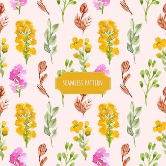 かわいい花の庭の水彩のシームレスパターン