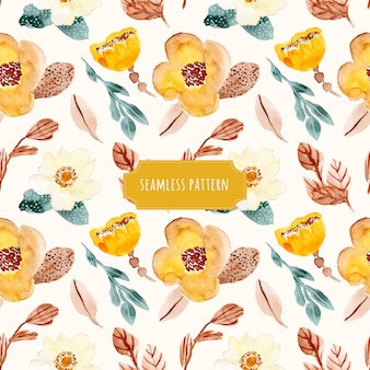ヴィンテージ花の水彩シームレスパターン