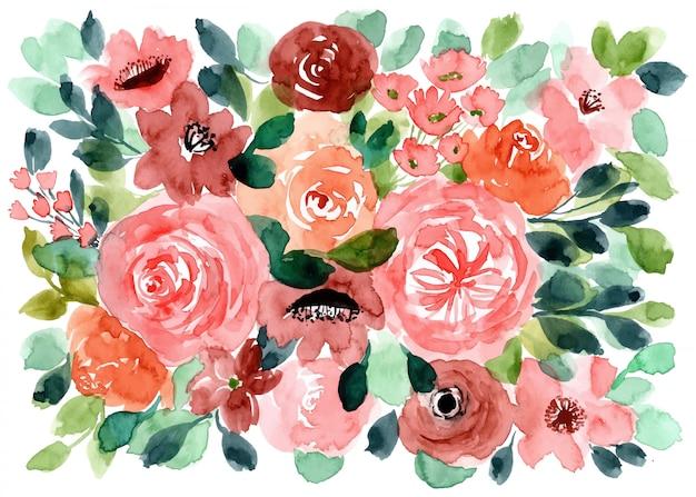 美しい花の水彩の背景