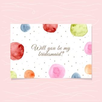 水彩の円の背景と花嫁介添人のカード