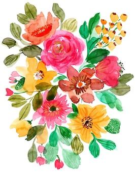 アレンジメントの花の水彩の背景