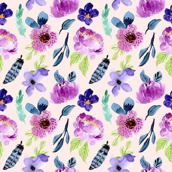 紫色の花の水彩シームレスパターン