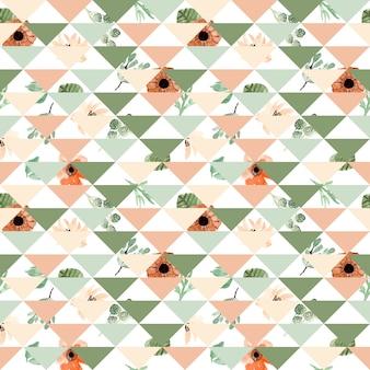 水彩フラワーパッチワークシームレスパターン
