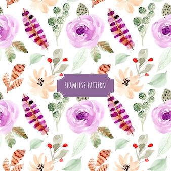 花と羽の水彩シームレスパターン