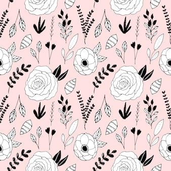 手描きの花のシームレスなパターン