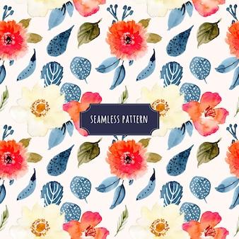素敵な花の水彩シームレスパターン
