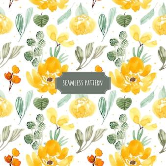 黄色の緑の花の水彩シームレスパターン