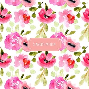 美しいピンクの花の水彩のシームレスなパターン