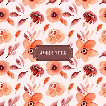 栗色のオレンジ色の花の水彩シームレスパターン