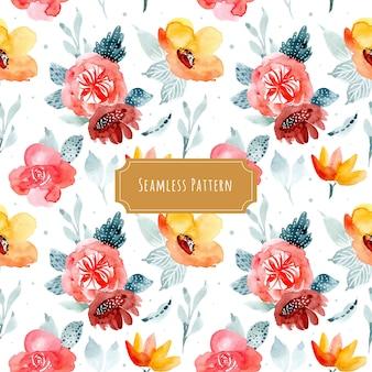 冬の花の水彩シームレスパターン