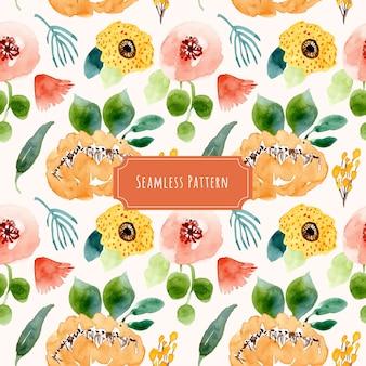 素敵な水彩の花のシームレスなパターン