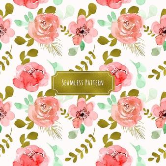 ピンクゴールドホイル花の水彩シームレスパターン