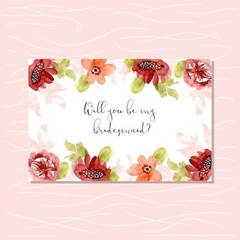 甘い水彩花のフレームと花嫁介添人のカード