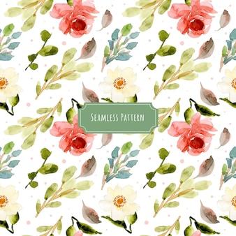白ピンク緑の花の水彩シームレスパターン