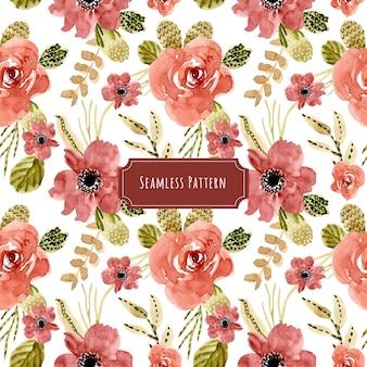 美しい赤い花の水彩のシームレスなパターン