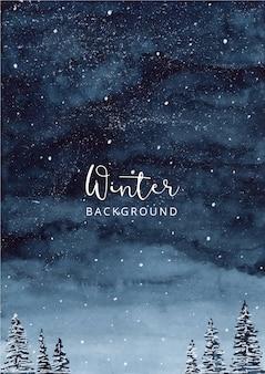 Ночной зимний акварельный пейзаж фон