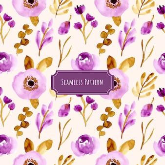 美しい紫色の茶色の花の水彩シームレスパターン