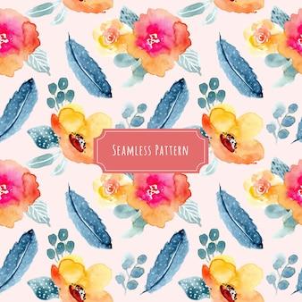 羽毛と花の水彩シームレスパターン