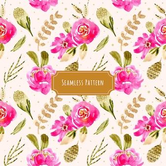 ピンクの緑の花の水彩のシームレスなパターン