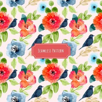 素敵な水彩画の花と鳥のシームレスパターン