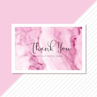 抽象的な柔らかいピンクの水彩画の背景を持つありがとうカード