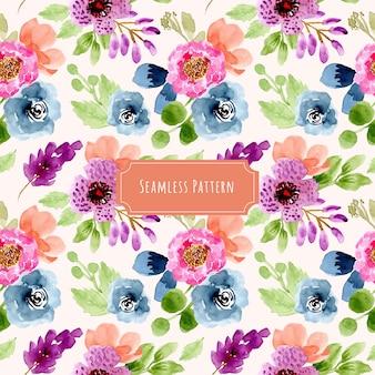 カラフルな花柄水彩画シームレスパターン