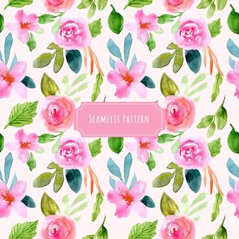 甘いピンクの花の水彩画のシームレスパターン