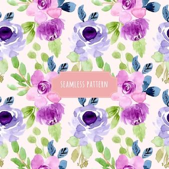 Сладкий фиолетовый цветочный акварельный бесшовный фон
