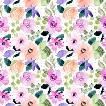 甘い花の水彩画とドットのシームレスパターン