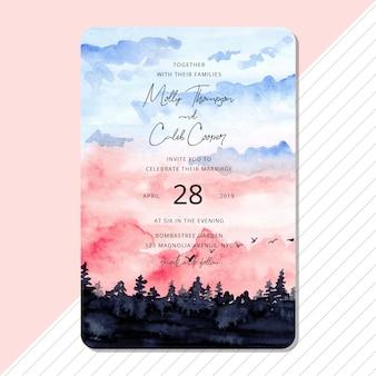 美しい風景の水彩画との結婚式の招待状
