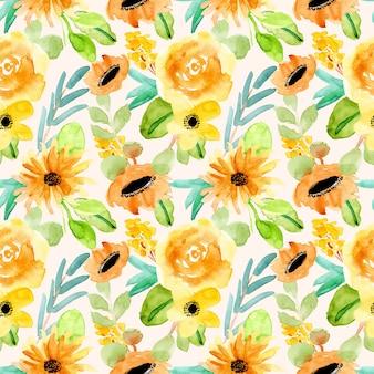 イエローグリーンの花柄水彩画シームレスパターン