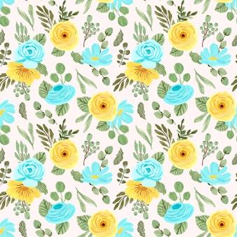 黄色青い花のシームレスパターン