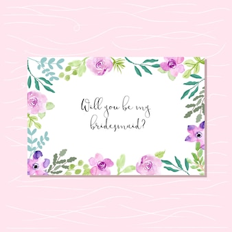 紫色の緑の花のフレームと花嫁介添人カード