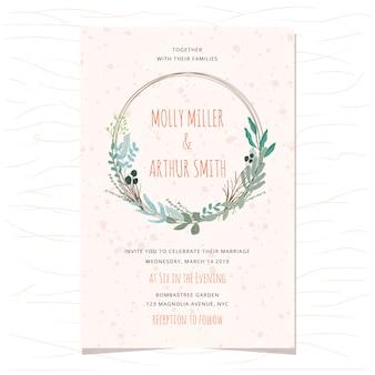美しい葉の花輪を持つ結婚式の招待カード