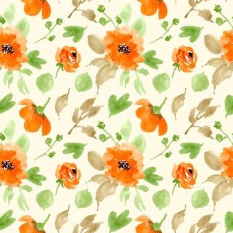 オレンジグリーン花柄水彩画シームレスパターン