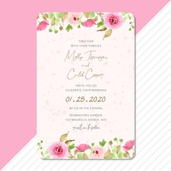 ピンクの花のボーダー水彩画と結婚式の招待カード