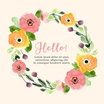 美しい水彩画の花の花輪