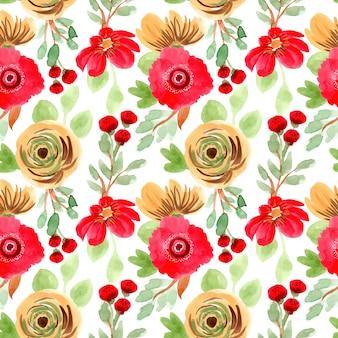 美しい黄色赤花水彩画シームレスパターン