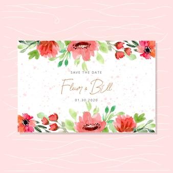 ロマンチックな水彩花柄ボーダーで日付カードを保存
