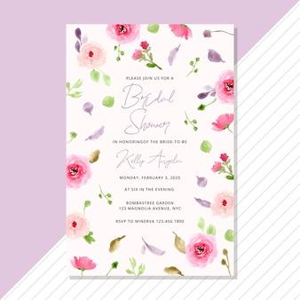 水彩画の花の背景を持つブライダルシャワーの招待状