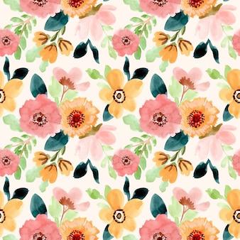 甘い花の水彩画のシームレスパターン