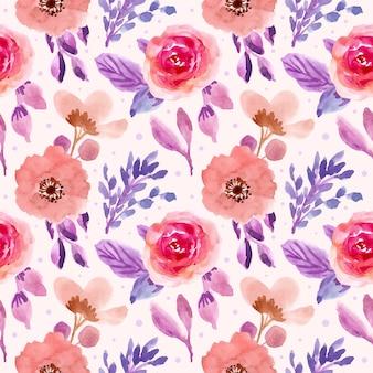 ピンクパープルの花柄水彩画のシームレスパターン