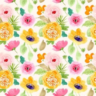 黄色ピンクグリーンの花の水彩画のシームレスパターン