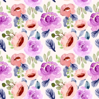 かわいい花の水彩画のシームレスパターン
