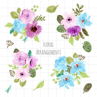 紫色の青い花の水彩画アレンジメントコレクション