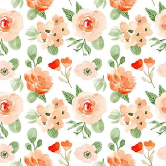 赤面緑花水彩画シームレスパターン